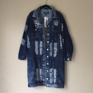 🆕 Ripped Denim Jacket by Thrill Jeans, Size Small
